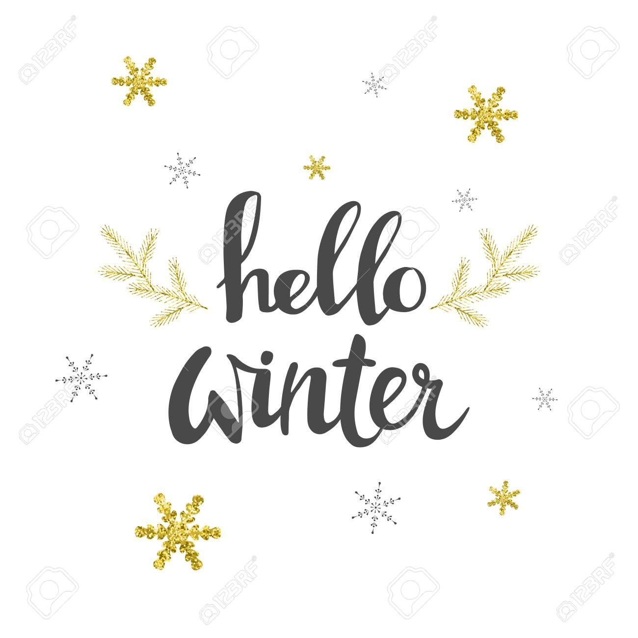 Hello Winter Greeting Card With Gold Snowflakes Design