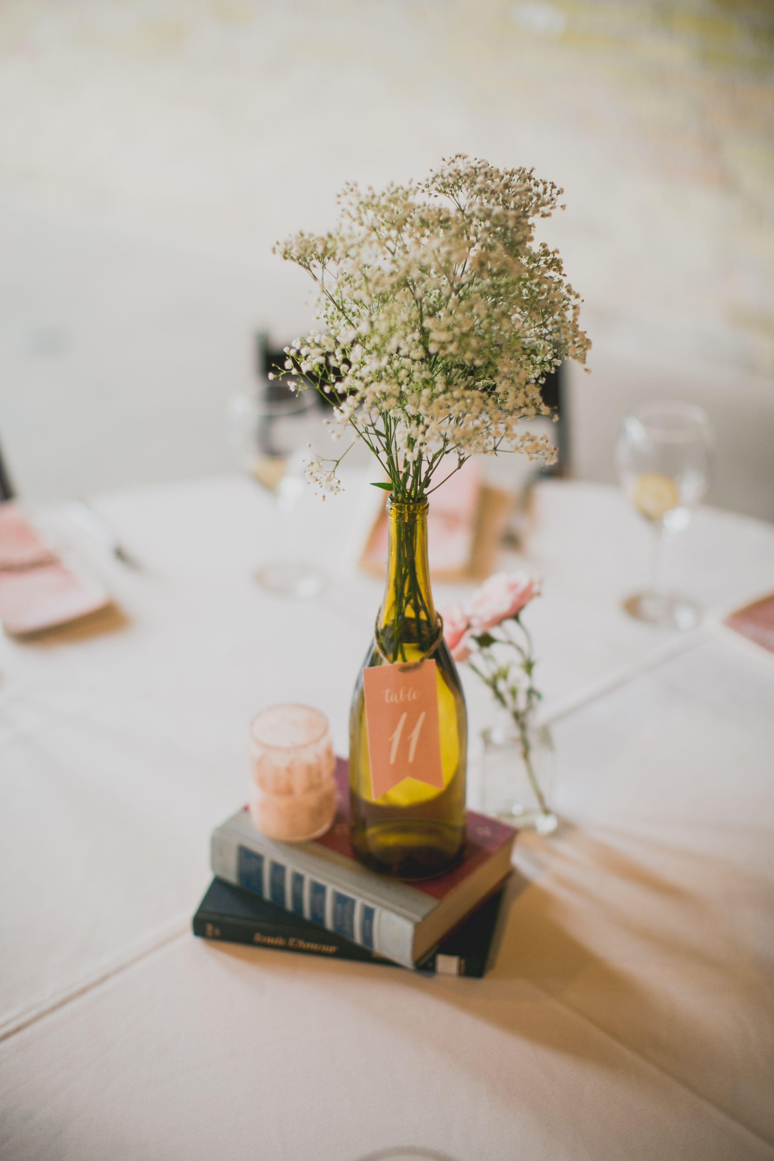 DIY Wedding Centerpiece #DIY #winebottles #babysbreath #wedding ...