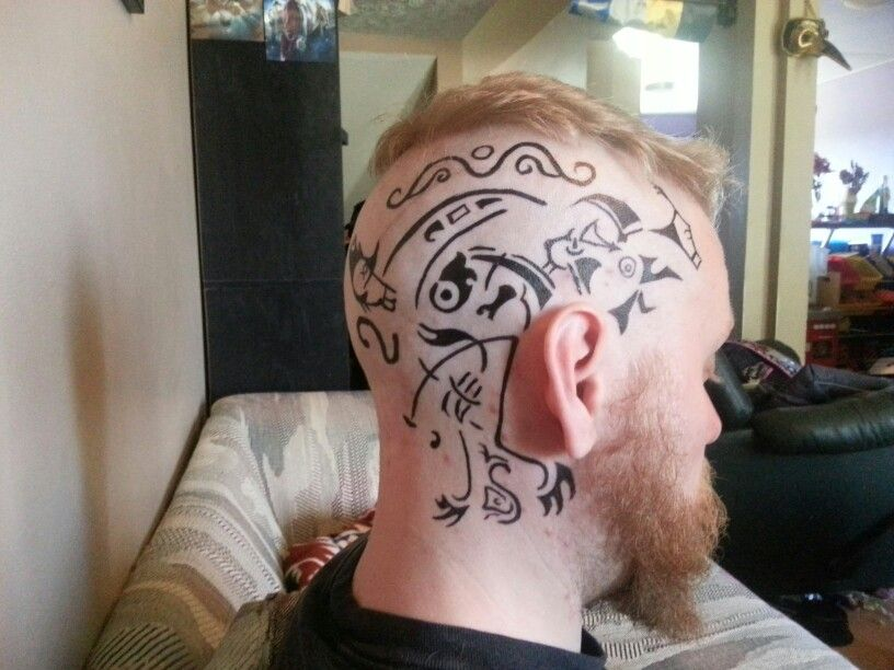 Ragnar head tattoo | Head tattoos, Traditional viking ...