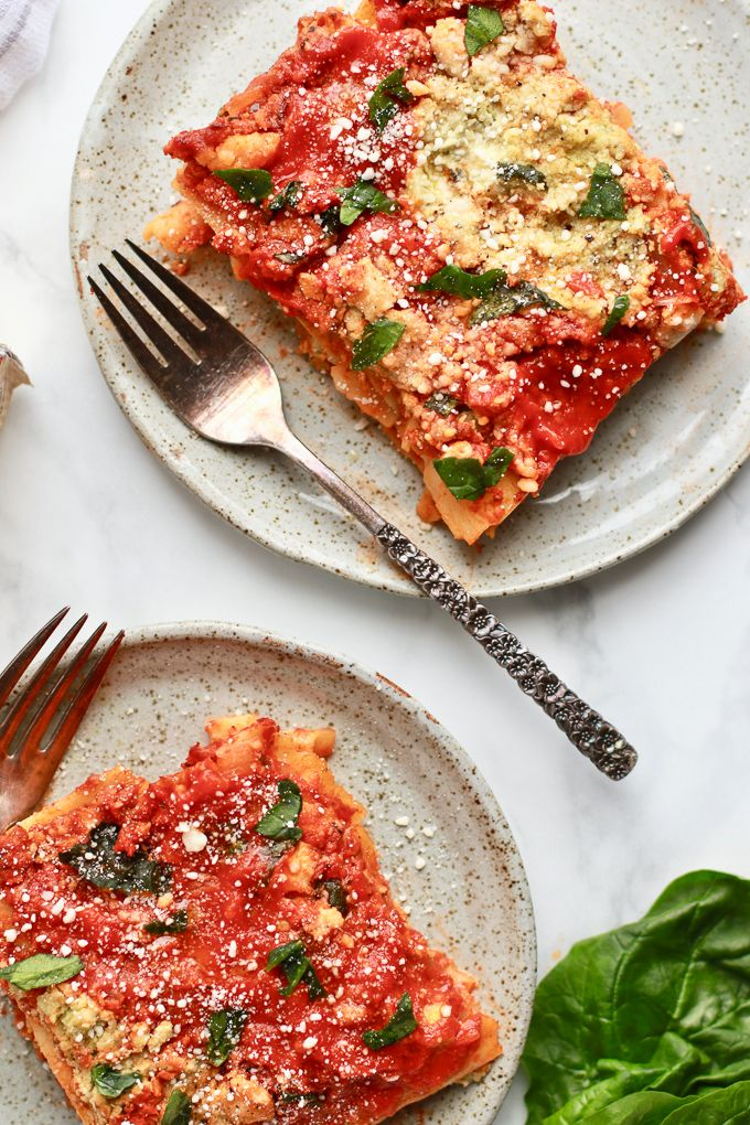 Easy Healthy Lasagna With Cashew Spinach Ricotta