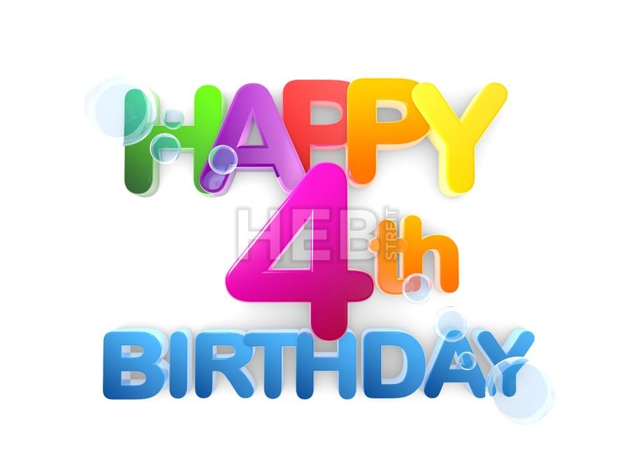 Happy 4th Birthday Title Light By Hebstreits Vector