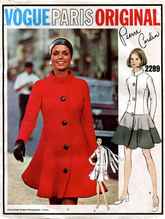 70s VOGUE DRESS Pattern Standing Collar Fit & Flare Coat Dress ...