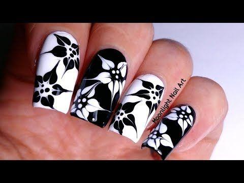 Drag marble black white flowers nail art tutorial youtube