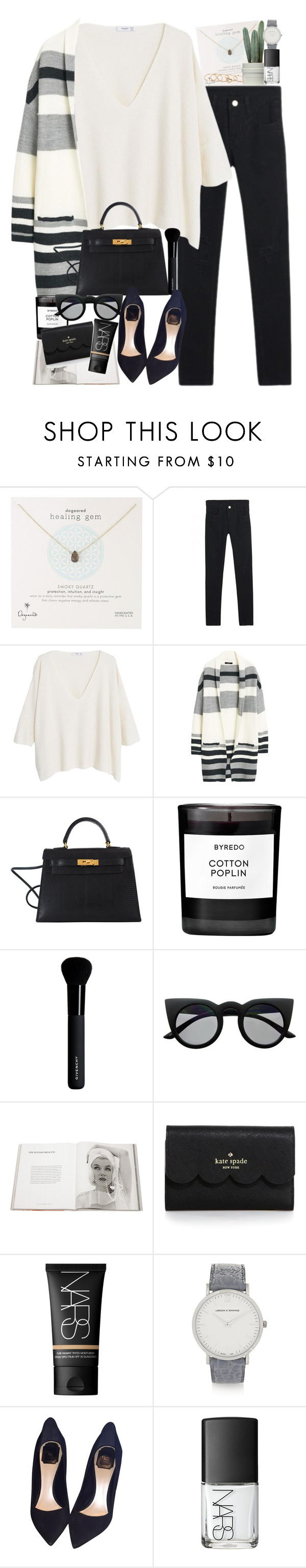 """Untitled #3303"" by peachv ❤ liked on Polyvore featuring Dogeared, MANGO, Hermès, Byredo, Givenchy, Retrò, Taschen, Kate Spade, NARS Cosmetics and Larsson & Jennings"
