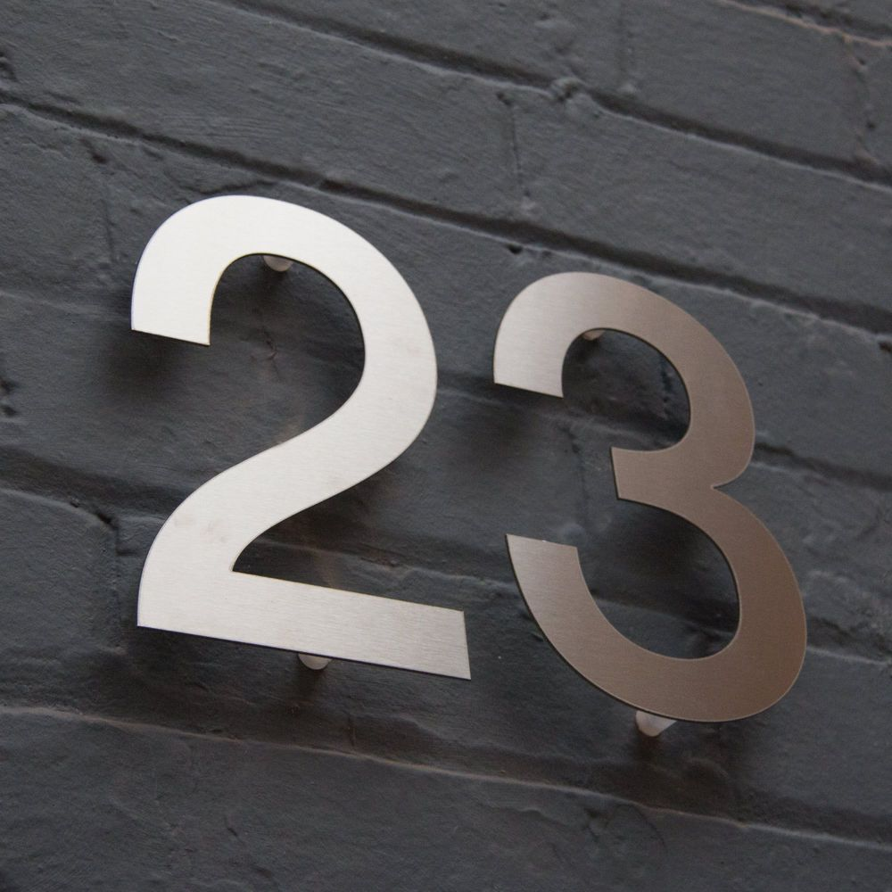 Designer Stainless Steel House Door Numbers Helvetica Large Architect With Images Metal House Numbers Steel House House Numbers