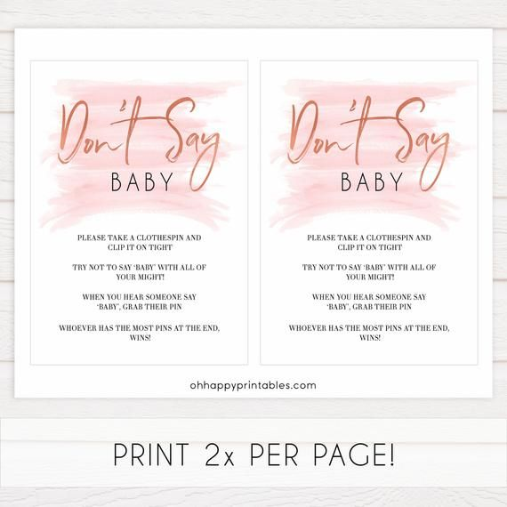 Dont Say Baby Game, Printable Baby Shower Games, Pink Baby Shower Games, DontSay Baby Clothes Pin B