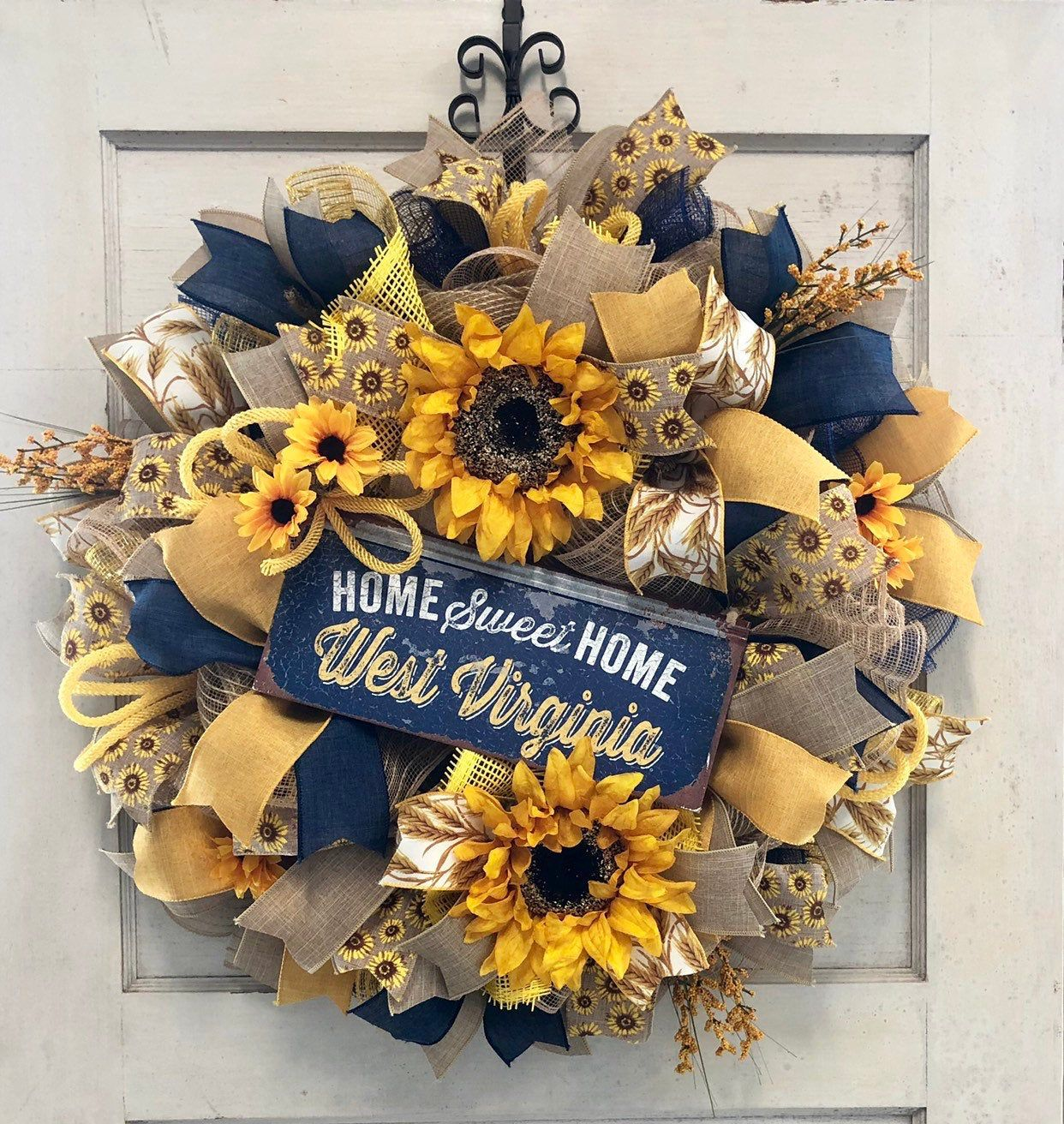 WVU Wreath - West Virginia Wreath - Fall West Virginia Wreath - Mountaineer Wreath - The Whispering Wreath - Home Sweet Home