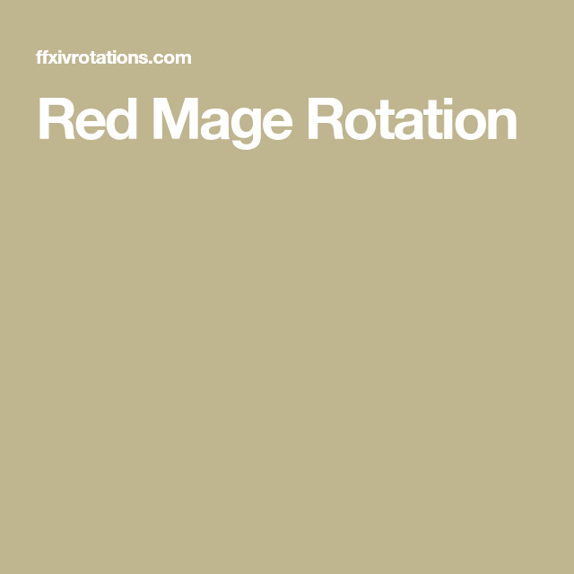 Red Mage Rotation | FFXIV