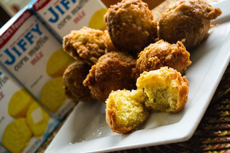 Jiffy S Hush Puppy Recipe I Will Pair These With Honey Butter And Or Hot Pepper Peach Jam Hush Puppies Recipe Recipes Jiffy Corn Muffin Mix