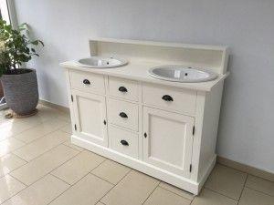 Doppelwaschtisch Weiß Landhaus, Waschtisch Schrank Massivholz Grau
