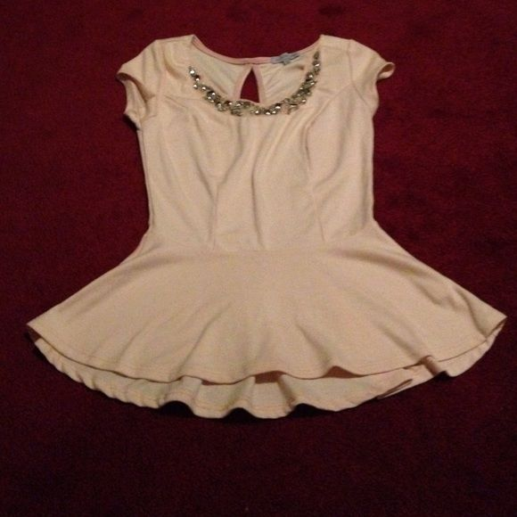 Charlotte Russe pink peplum top So cute but does not fit me!:( perfect condition Charlotte Russe Tops