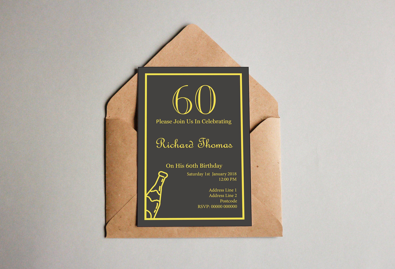 Custom 60th Birthday Invitation Download DIY Party Invite Clean Design Downloadable File