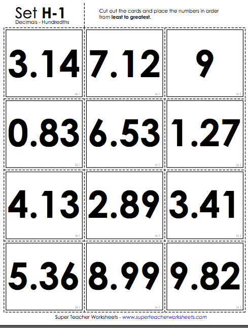 Love These Ordering Decimal Card Sorts From Super Teacher Worksheets ...