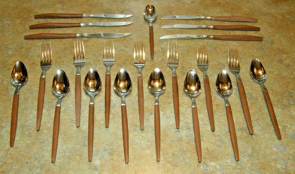 Vintage Ecko Eterna Wooden Handle Silverware Stainless