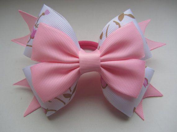 White pink bowelastic band elastic hairbandWhite pink by diademUA
