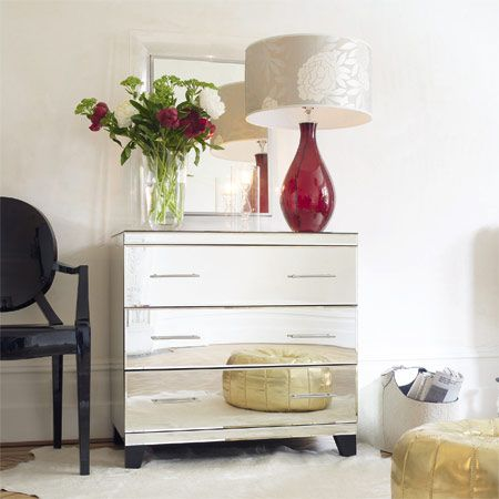 Shop Isabelle Mirrored Bedside Table 3 Drawers At Interiors Online.  Exclusive High End Furniture.