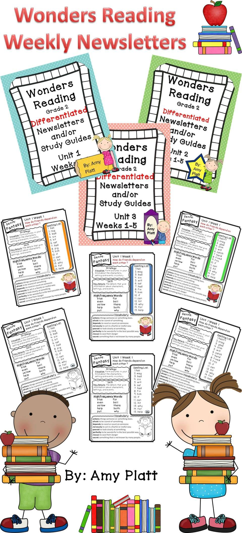Weekly Differentiated Newsletters / Study Guides for the Wonders Reading  Program Grade 2.