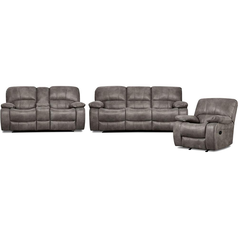 Garrison 3 Piece Charcoal Grey Sofa Loveseat Recliner Living Set