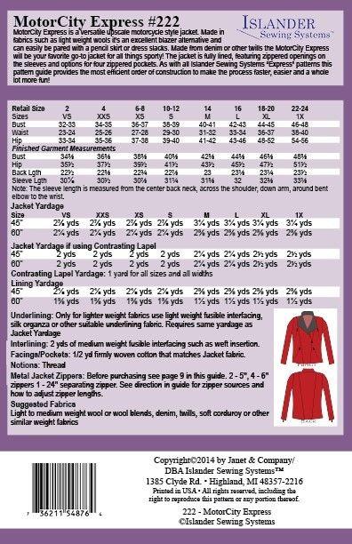 Islander Sewing Systems Motor City Express #222 Jacket