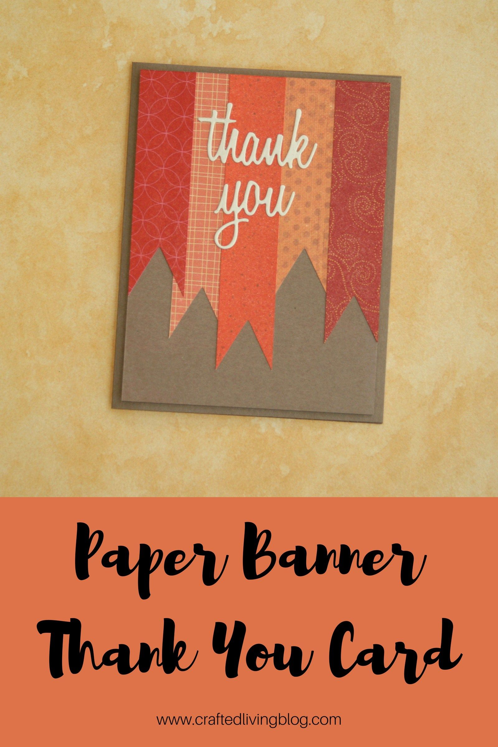 Paper Banner Thank You Card Crafted Living Simple Cards
