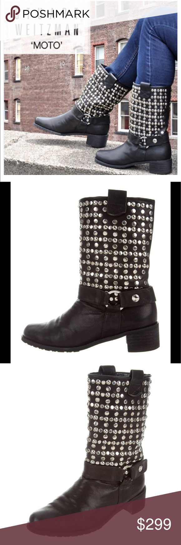c6d47d2c7c Stuart Weitzman studded black Moto boots 8 Excellent condition Bought it on  Teal Teal but little
