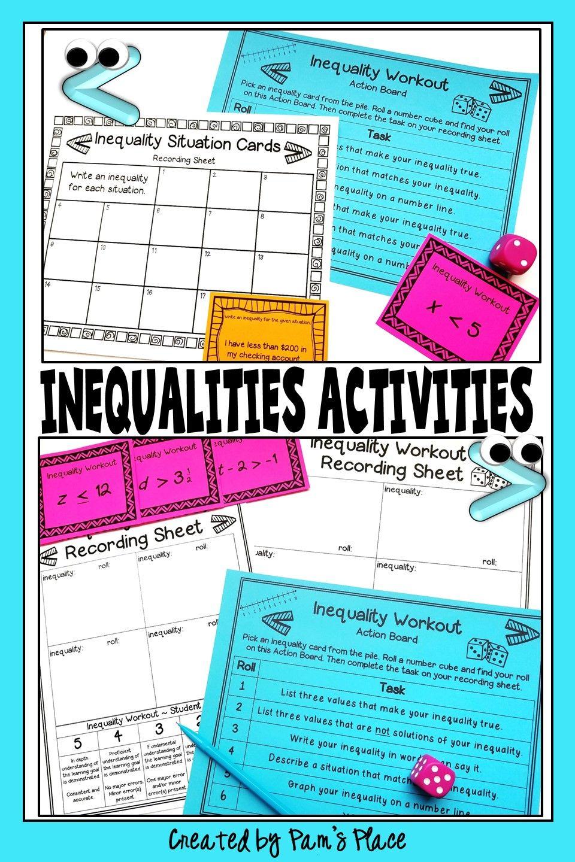 Inequalities activities activities number line