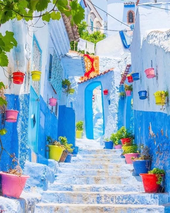 Into The Blue City Chefchaouen Morocco Handmade