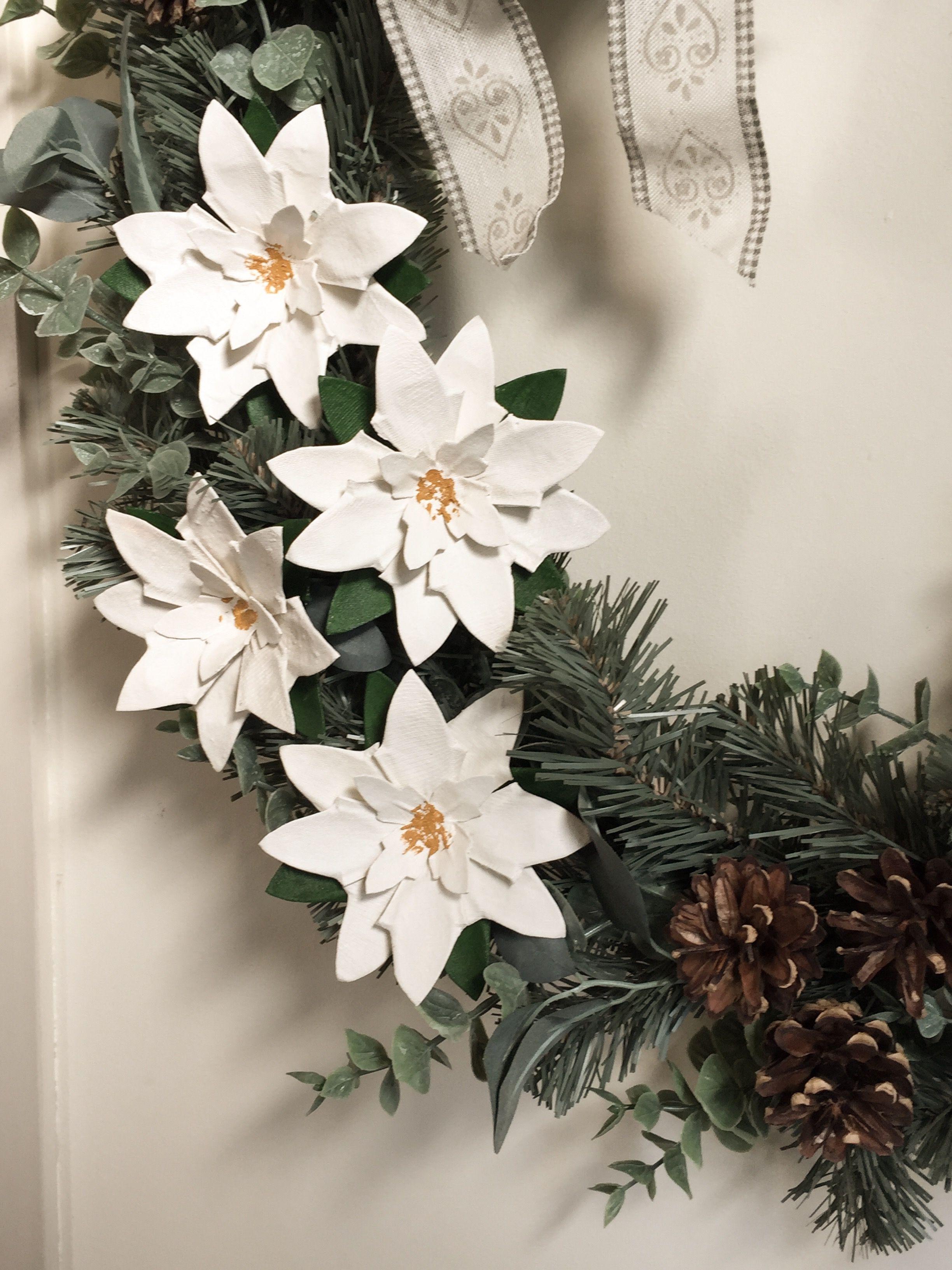 Photo of Ghirlanda natalizia con fiori di cartone