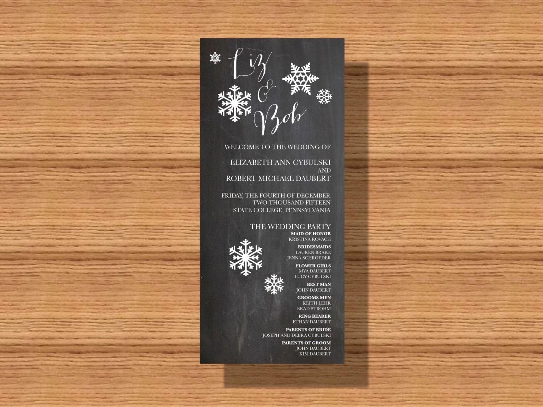 #WinterWedding #Program, #Chalkboard #Wedding #Program, Printable Wedding Program by WeddingsByJamie on Etsy