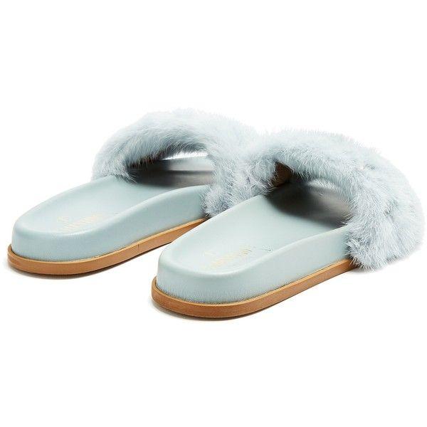 7f951eb7cc92 Valentino Rockstud mink-fur slides ( 995) ❤ liked on Polyvore featuring  shoes