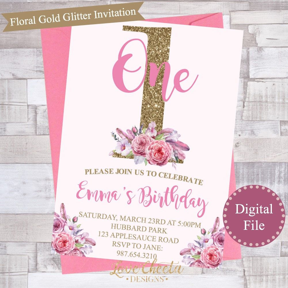 Personalized printable pink & Purple Floral Gold Glitter First ...