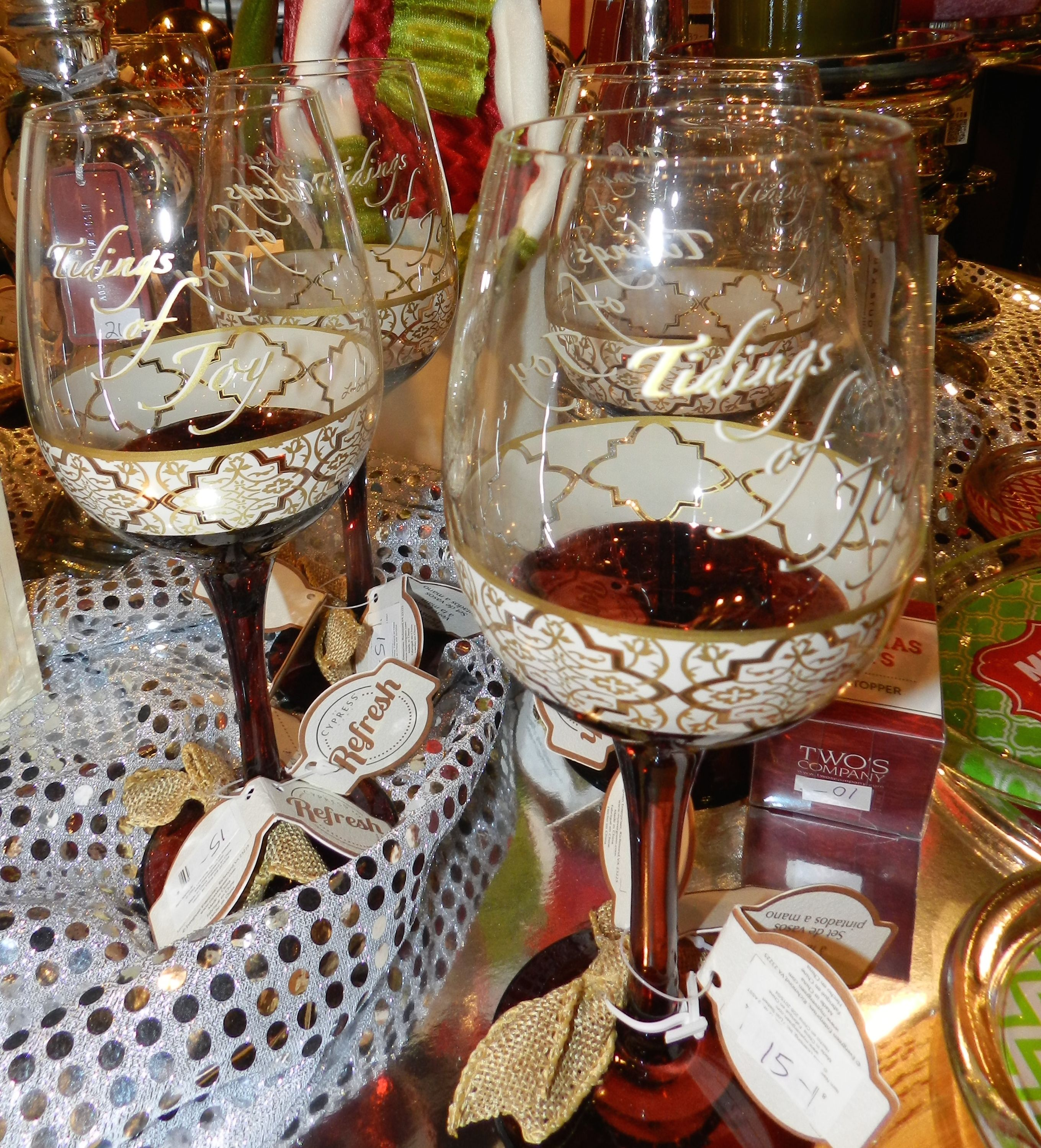 Set a beautiful holiday table with glasses from Market Alley Wines, Monmouth IL