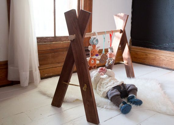Wooden Baby Gym - Kids Activity Gym Walnut Natural Wood Eco Friendly ...