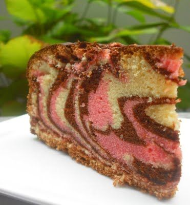 Chocolate Vanilla And Strawberry Marble Cake Recipe And