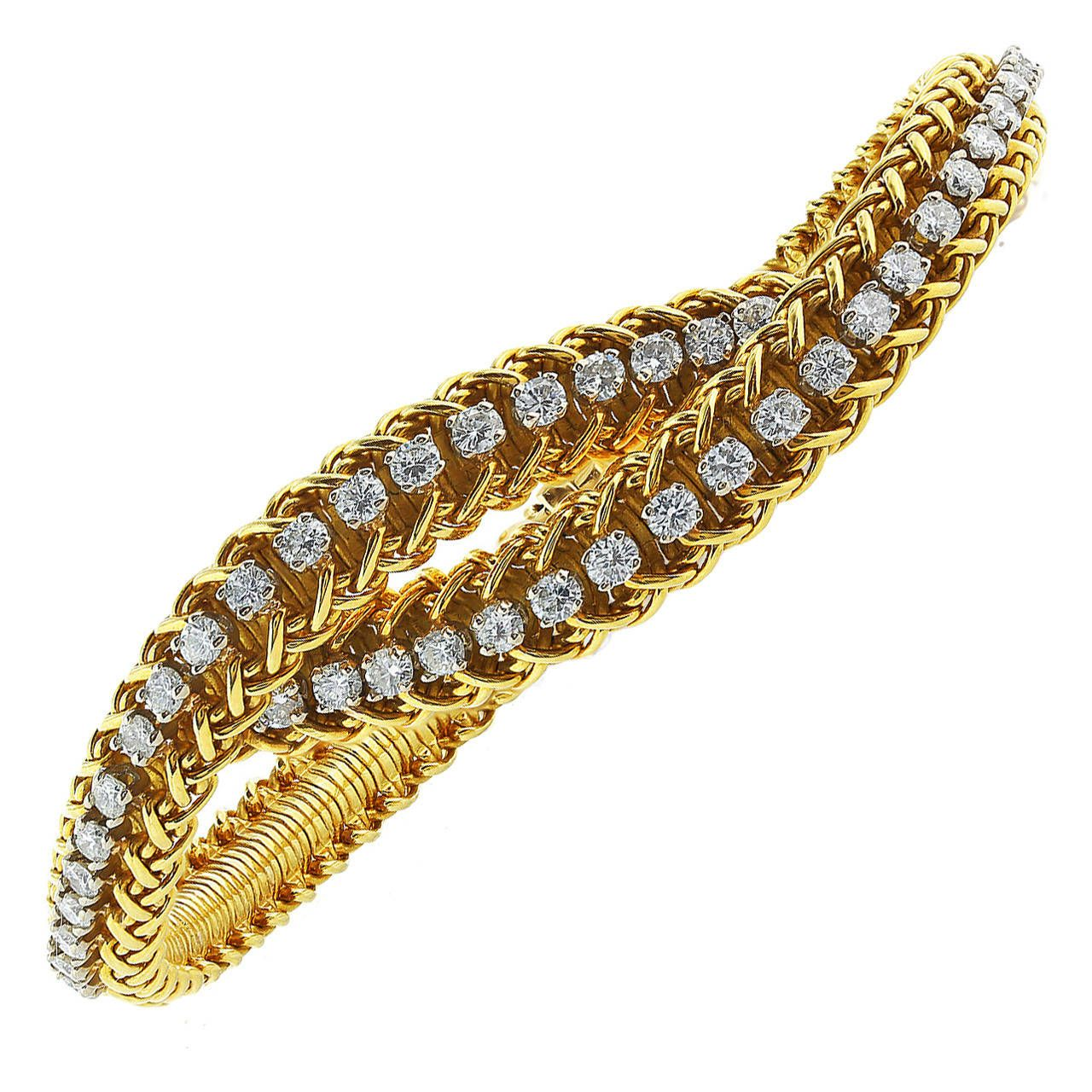 Van cleef and arpels diamond gold bangle bracelet van cleef