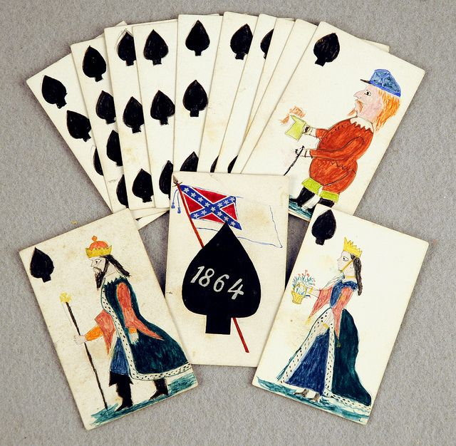 handmade Confederate playing cards from the St. Clair Dearing Papers.