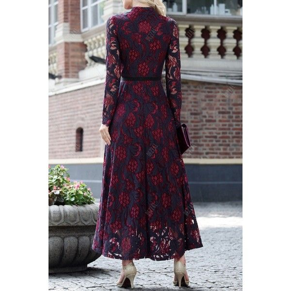 Single Breasted Lace Maxi Dress featuring polyvore, women's fashion, clothing, dresses, lace dress, lacy dress, purple maxi dress, maxi length dresses and maxi dresses