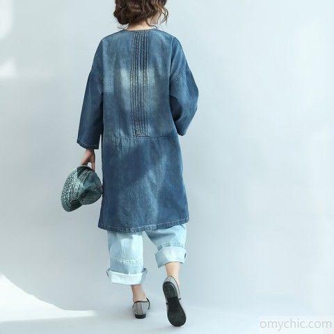6a29c67b4b baggy denim blue natural cotton dress plus size linen maxi dress 2018 V  neck long sleeve