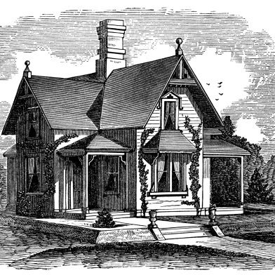Old Fashioned Houses antique house illustration, black and white clipart, old fashioned