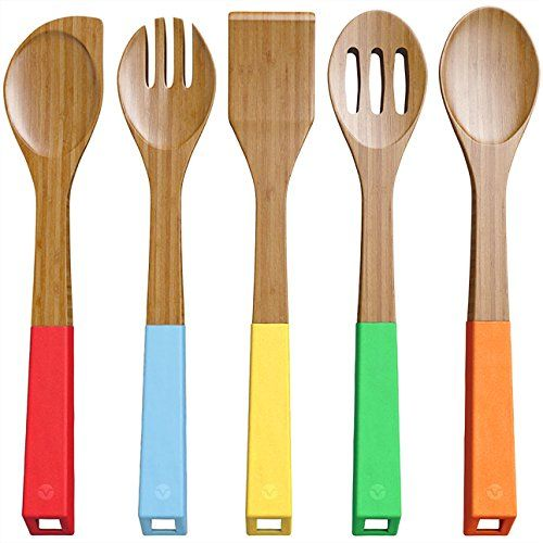 Vremi Bamboo Wooden Spoons And Cooking Utensils   5 Piece Antimicrobial  Kitchen Basics Set With Spatula Forked Serving And Mixing Spoon   Colorful  Silicone ...