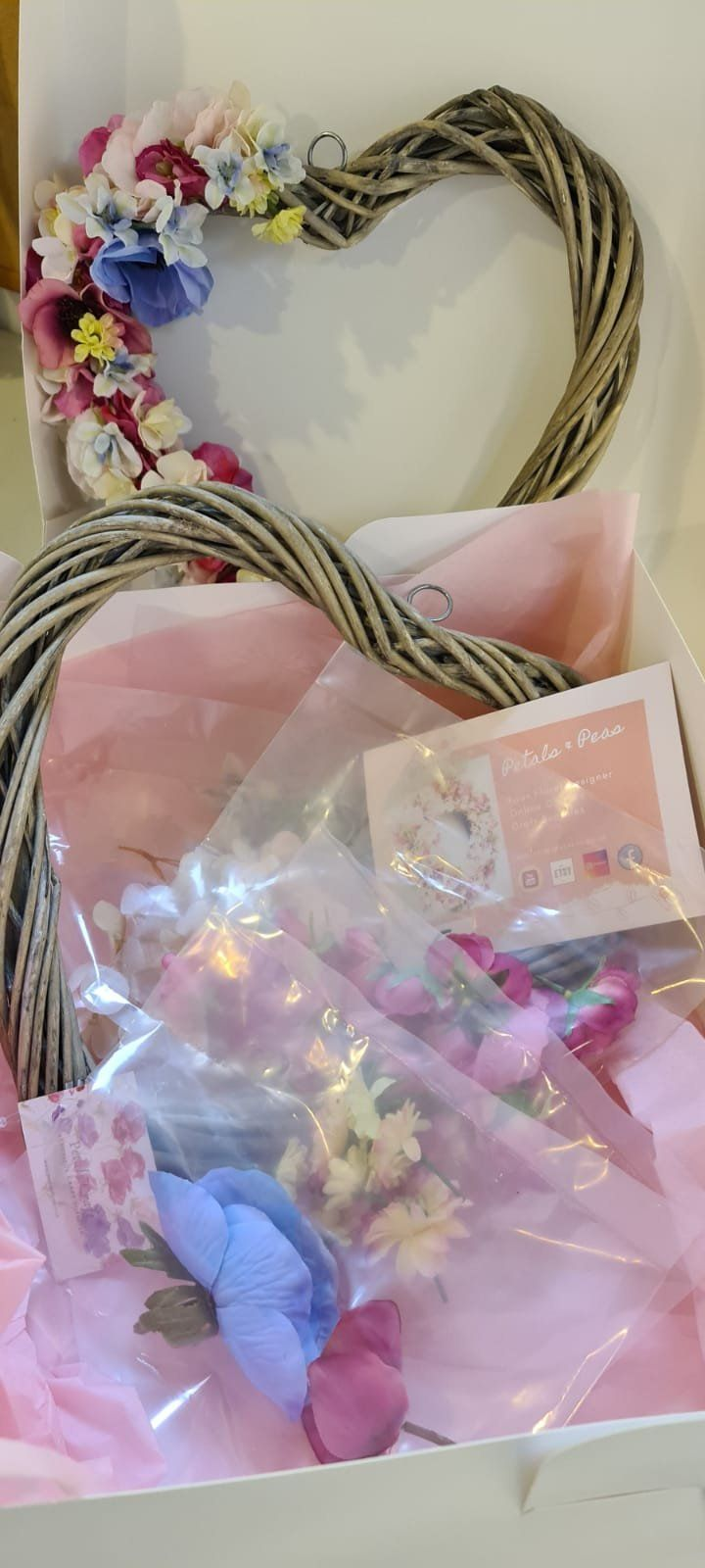 Photo of Wreath Making Kit. Soft pastel heart Wreath to make at home. Luxury Gifts. Lockdown Crafts. Make your own  designer wreath. DIY Wreaths