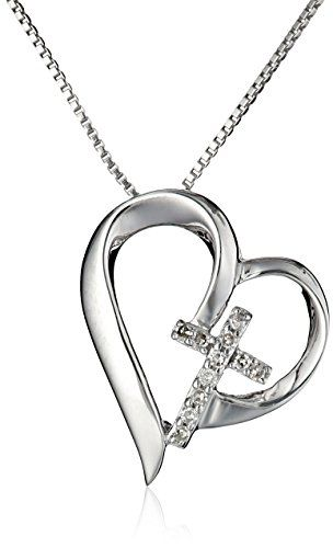 Sterling silver open heart with diamond cross faith hope love sterling silver open heart with diamond cross faith hope love pendant necklace 18 aloadofball Choice Image