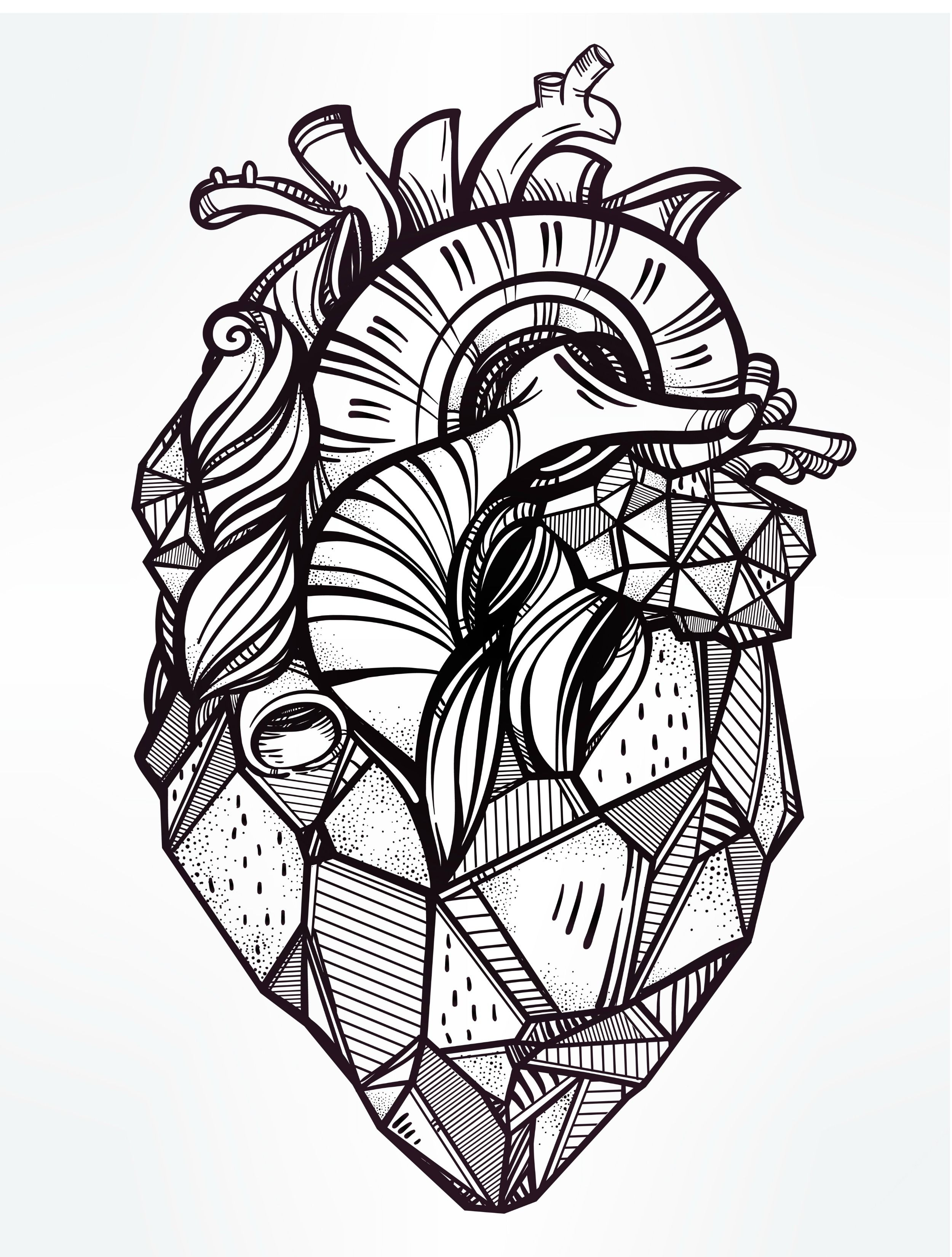 Insperation Geometric Heart Tattoo Heart Coloring Pages Tattoo Templates