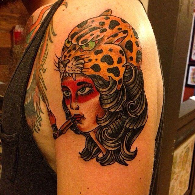 Woman head with Jaguar Headpiece. Tattoo by David Wilson ...