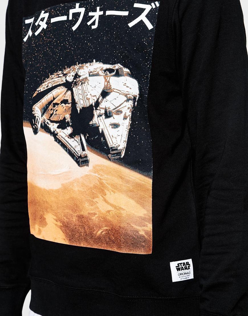 Image 3 of Jack & Jones x Star Wars Sweatshirt with Millenium Falcon Print