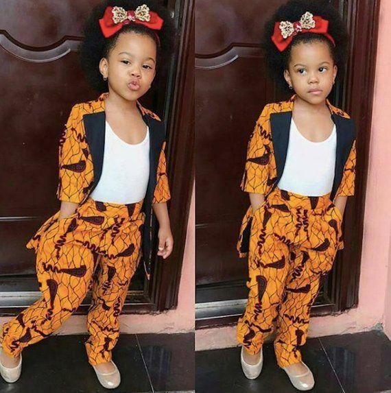 447903222 African Print Kids Two Piece Set - Blazer and Pants- Ankara Print ...