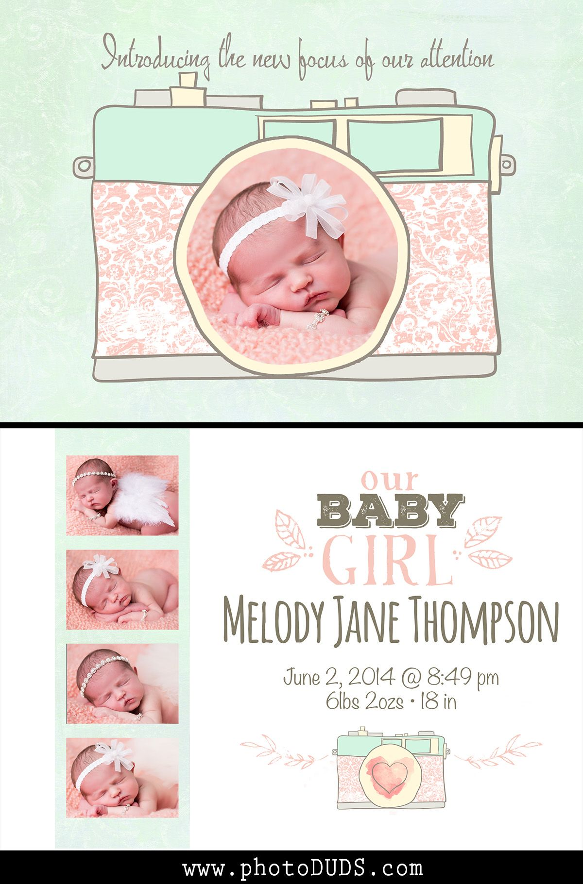 Camera Photographer Birth Announcement | Baby Girl Photo Birth Announcement  | Photoshop Template | Camera Clip