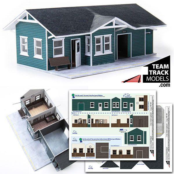 photo regarding Printable Model Railroad Buildings called Speeder Repair Eliminate Fashion Railroading Paper types