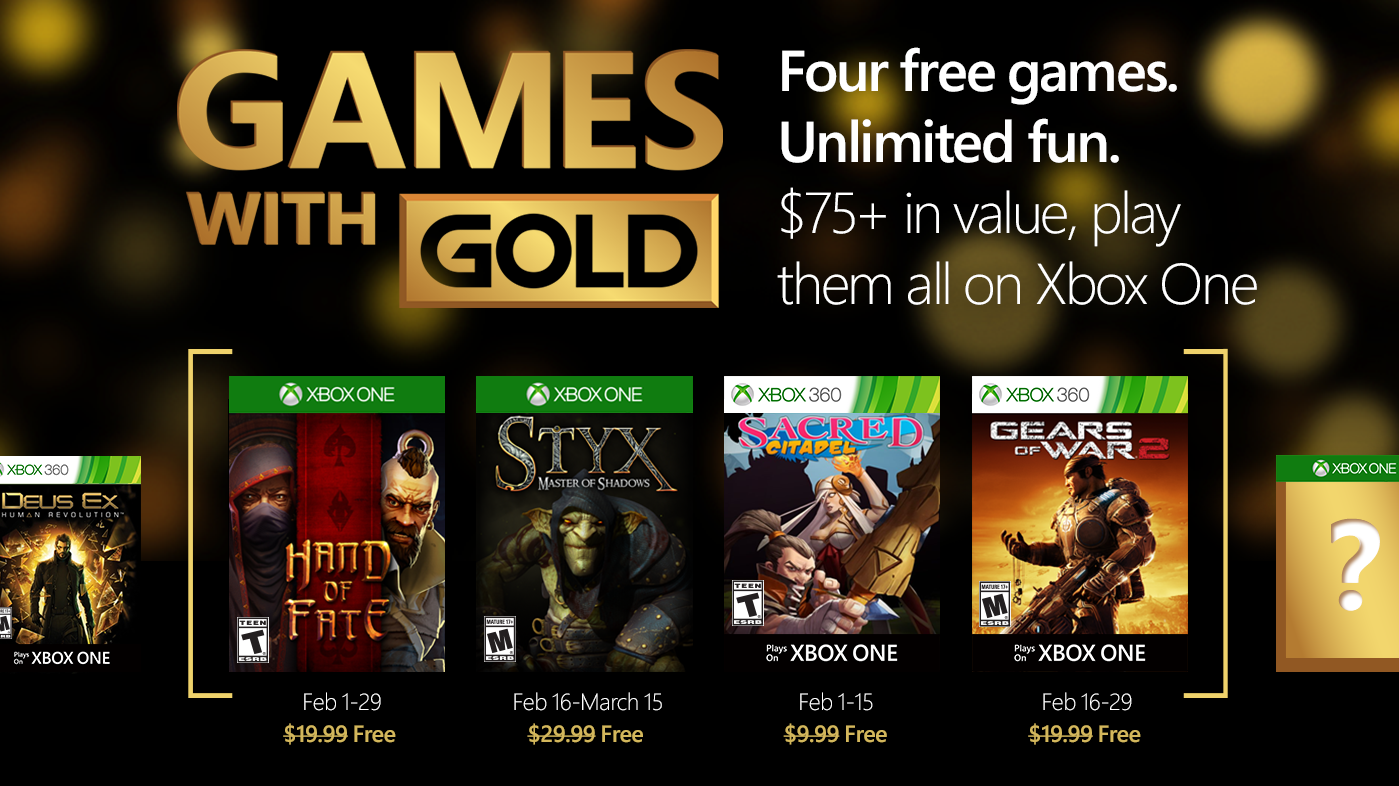 Xbox Live Games With Gold For February 2016 Xbox, Games