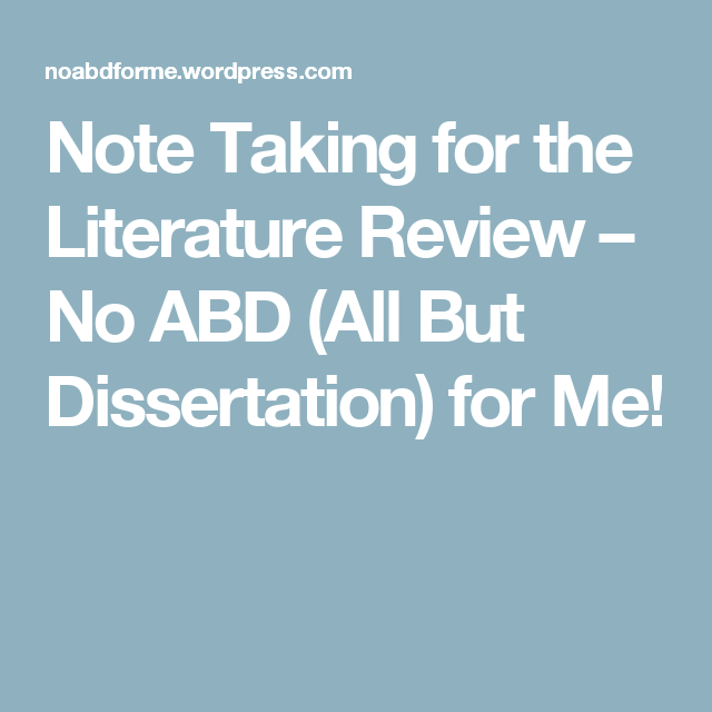 Note Taking For The Literature Review  Literature And School